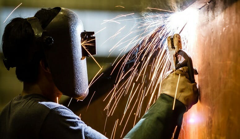 sparks flying during some welding