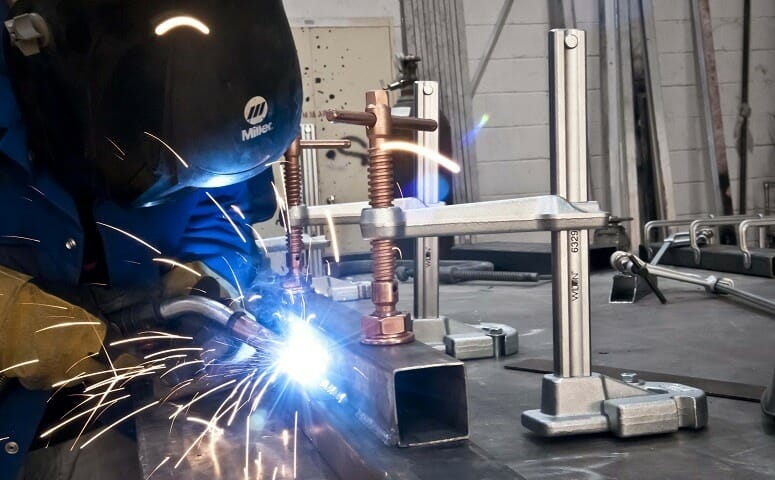 welding clamps in use