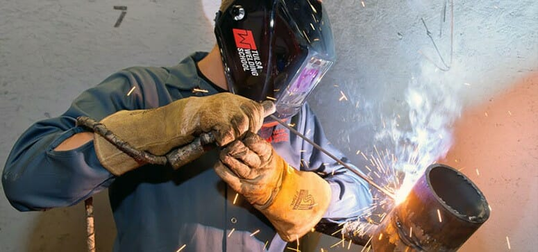 welder welding and learning