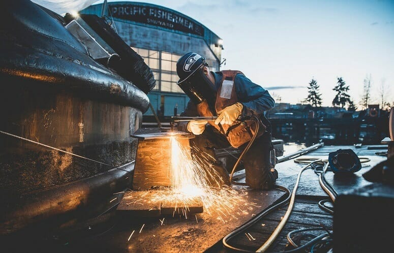 Welding Boat In Shipyard